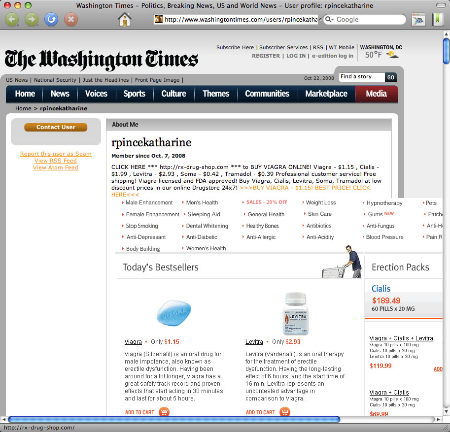profile spam The Washington Times