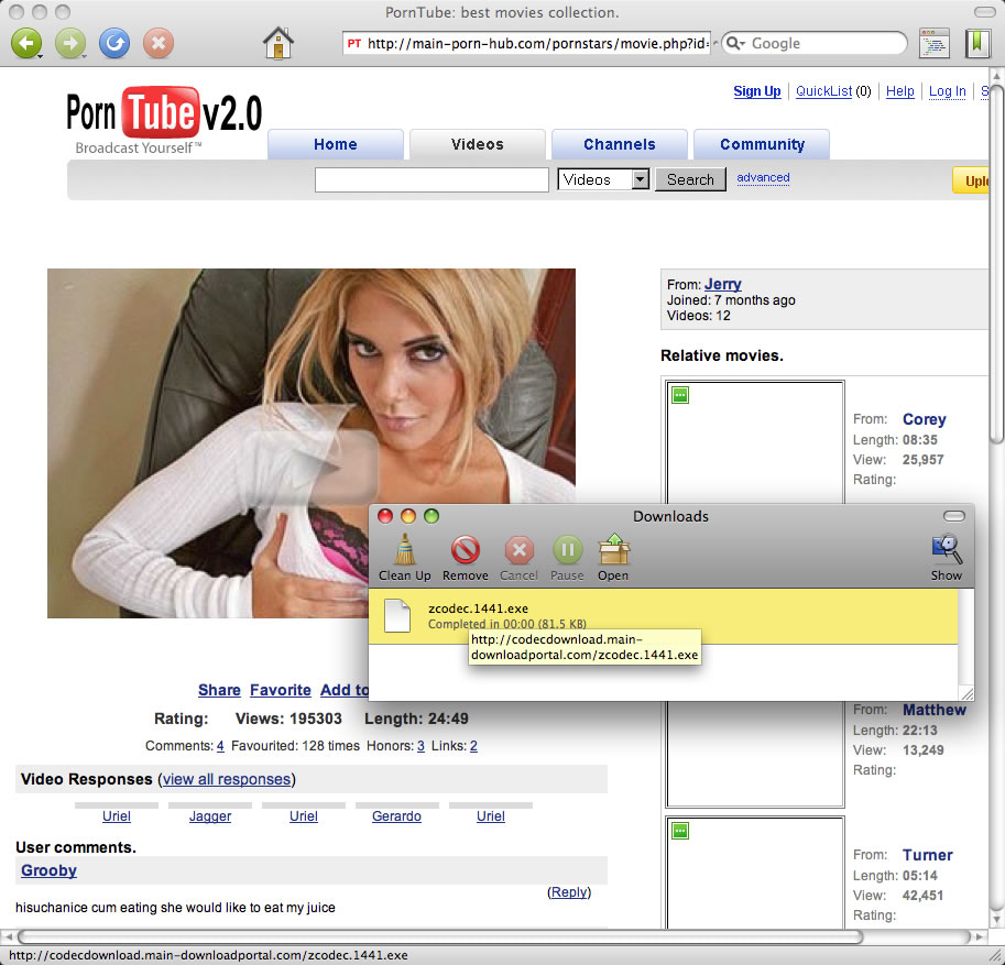 Brides.com spam profile PornTube Total Secure Antivirus 2009 Security Center
