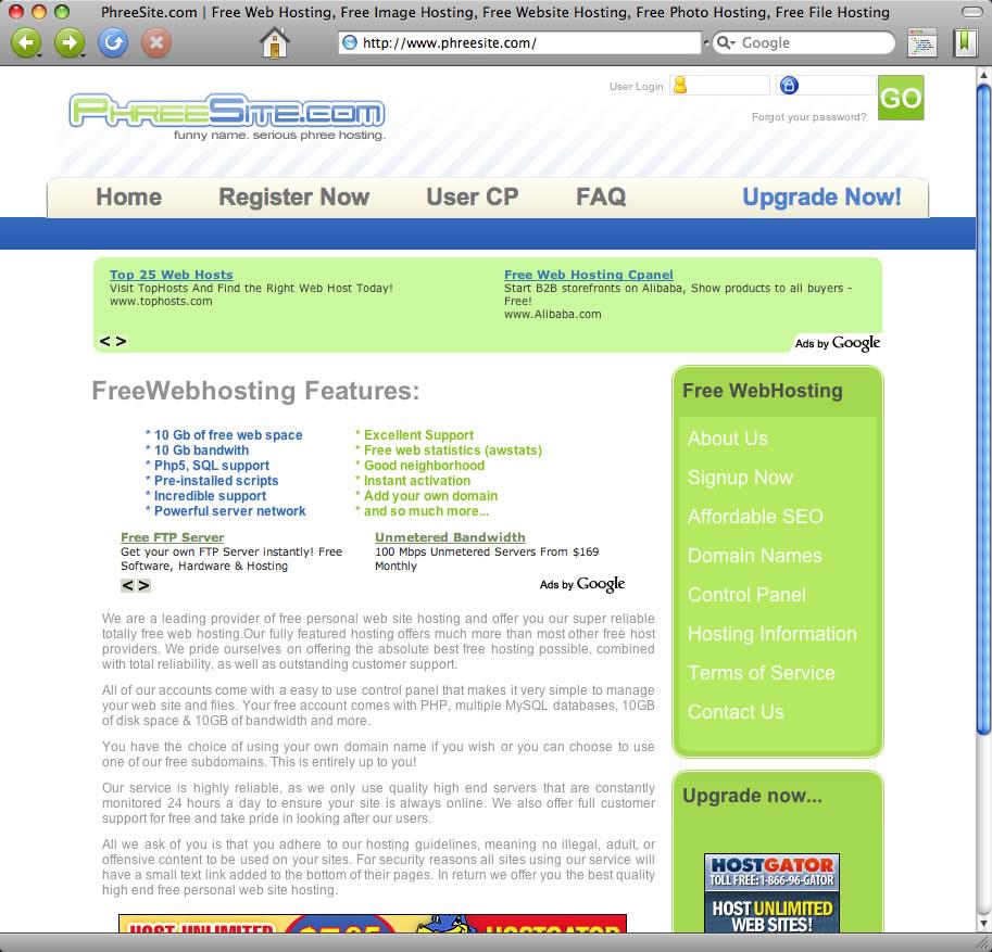 sitebooth.com phreesite.com 101freehost.com