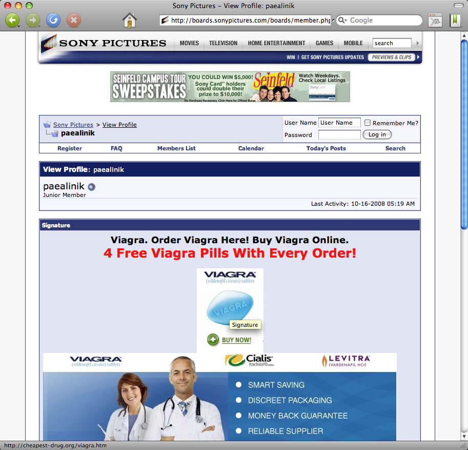 SONY PICTURES boards pharmacy spam